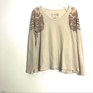 FP We The Free Waffle Knit Long Sleeve Thermal Tan